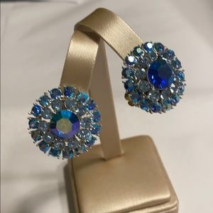 Vintage clip on earrings blue rhinestone rounds